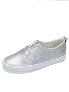 Silver Leather Round Toe Rubber Shoes