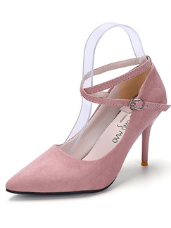 Pink Suede Pointed Toe Ankle Strap Pumps High Heel Stiletto Heel 9.5cm Heels