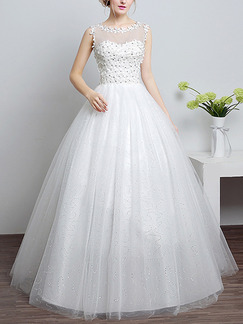 White Illusion Princess Appliques Beading Dress for Wedding