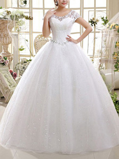 White Scoop Ball Gown Beading Appliques Dress for Wedding