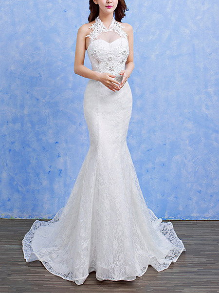 Wedding Dress For   Ph : White halter illusion mermaid appliques beading dress for