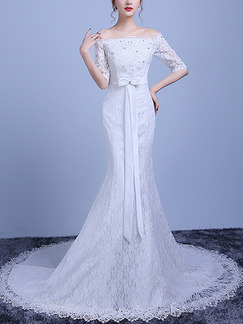 White Off Shoulder Mermaid Beading Embroidery Sash Ribbon Dress for Wedding