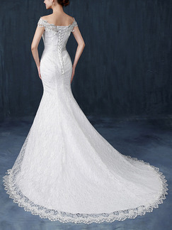 White Off Shoulder Mermaid Beading Sash Ribbon Dress for Wedding