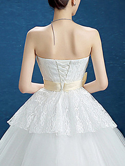 White Sweetheart Ball Gown Sash Ribbon Dress for Wedding