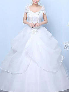White Off Shoulder Illusion Ball Gown Beading Embroidery Tiered Dress for Wedding