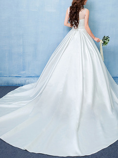 White Sweetheart Illusion High Neck Sash Dress for Wedding