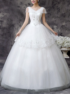 White V Neck Ball Gown Beading Appliques Embroidery Dress for Wedding