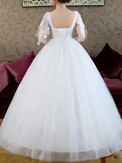 White Square Ball Gown Beading Appliques Sash Dress for Wedding