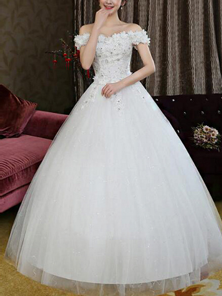 Wedding Dress For   Ph : White off shoulder ball gown beading appliques embroidery