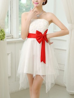 White and red chiffon off shoulder short dress for wedding bridesmaid prom
