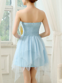 Blue and Cream Knee Length Strapless Dress for Bridesmaid Prom Ball Wedding