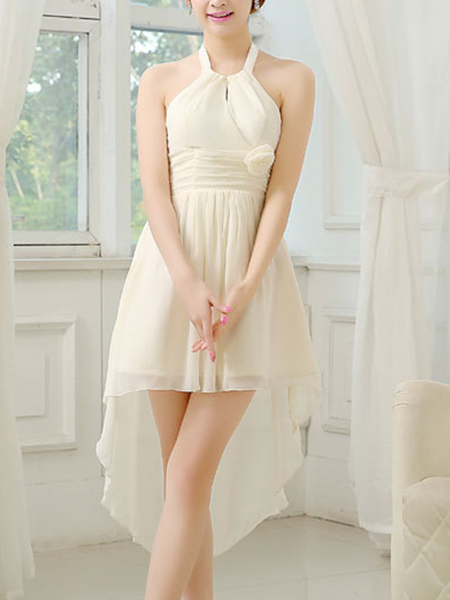 White Halter Midi Dress For Prom Bridesmaid Wedding