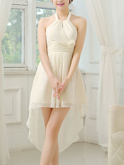 White Halter Midi Dress for Prom Bridesmaid Wedding
