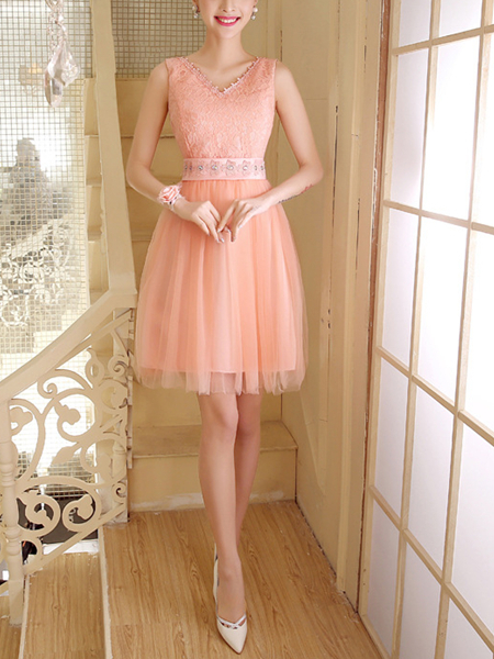 Pink Chiffon Lace Sequin Short Dress