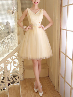 Cream V Neck Fit & Flare Above Knee Dress for Prom Bridesmaid