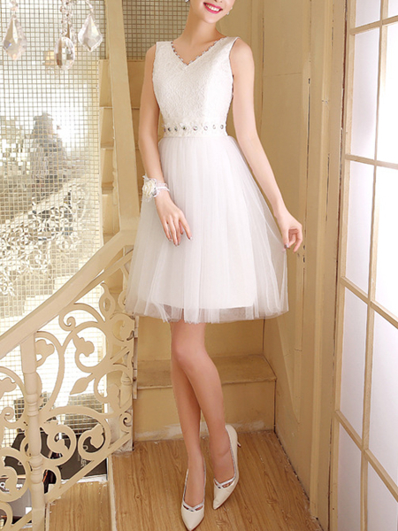 White Chiffon Lace Sequin Short Dress