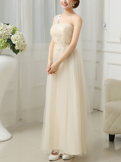Cream Sleeveless Maxi Dress For Prom Bridesmaid