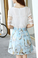 White and Blue Two Piece Above Knee Plus Size Fit & Flare Lace Dress for Party Casual
