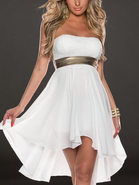 White Midi Strapless Dress for Cocktail Party Evening