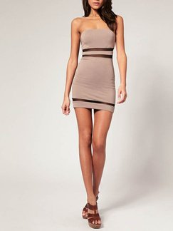 Beige Short Dress For Cocktail Party