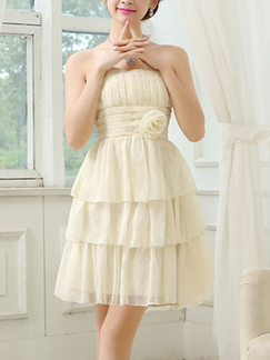 Cream Chiffon Short Dress for Party Prom Bridesmaid