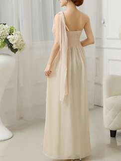 Champagne Chiffon Sequin One Shoulder Long Dress for Prom Bridesmaid