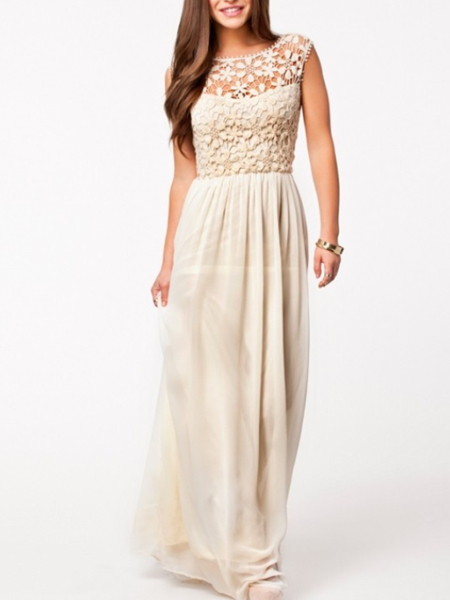 Beige Lace Backless Maxi Plus Size Dress For Cocktail Bridesmaid