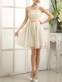 Champagne Chiffon Short Dress for Prom Bridesmaid