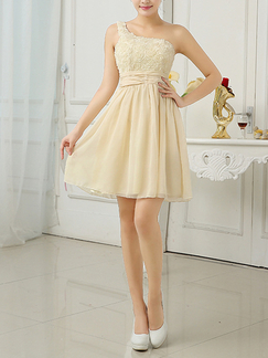 Champagne Chiffon One Shoulder Short Dress for Prom Bridesmaid Cocktail