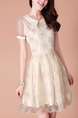 Beige Floral Shirt Lace Plus Size Above Knee Dress for Prom Bridesmaid