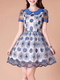 Blue Floral Shirt Lace Plus Size Above Knee Dress for Prom Bridesmaid