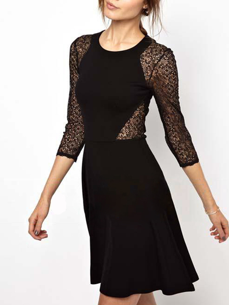 Black Lace Fit & Flare Above Knee Plus Size Dress for Cocktail Evening Party