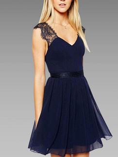 Blue Lace Fit & Flare Above Knee V Neck Backless Dress for Cocktail Party Evening