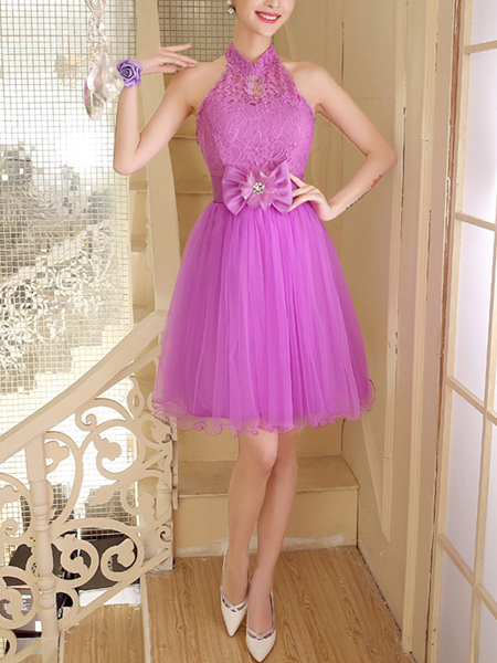 Purple Lace Halter Short Dress