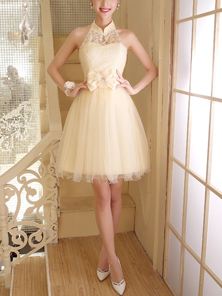 Cream Lace Halter Above Knee Fit Flare Dress For Prom
