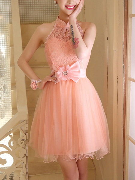 Pink Lace Halter Short Dress