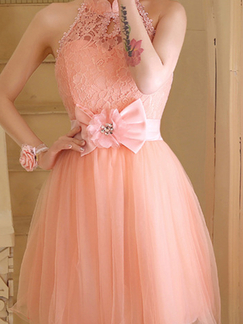 Pink Lace Halter Above Knee Fit & Flare Dress for Prom Bridesmaid