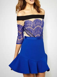 Blue Lace Off Shoulder Above Knee Dress for Cocktail Party Evening