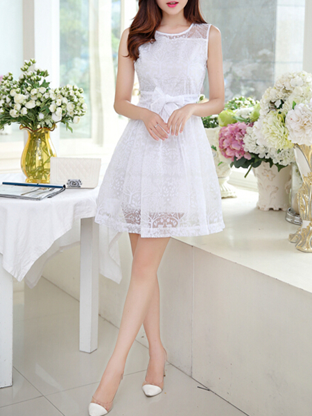 white lace korean chiffon short dress for cocktail party