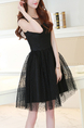 Black Korean Chiffon Short Dress for Cocktail Party Casual Evening