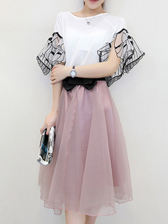 White and Pink Two Piece Knee Length Lace Dress for Cocktail Party Evening