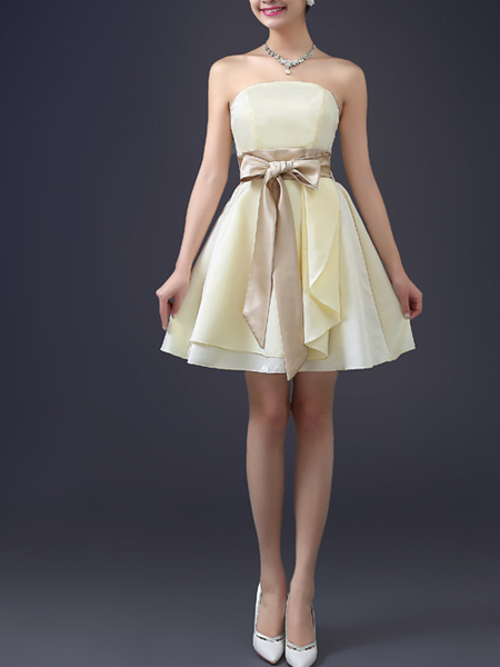 Champagne Chiffon Short Dress