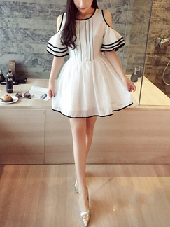 a808dec79e29 White Chiffon Off Shoulder Short Sleeves Short Dress for Party Casual  Evening