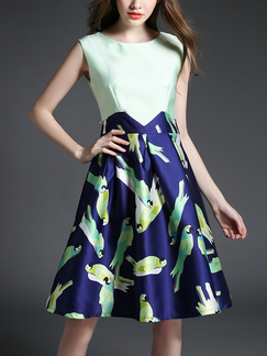 Green and Blue Short Dress for Party Casual