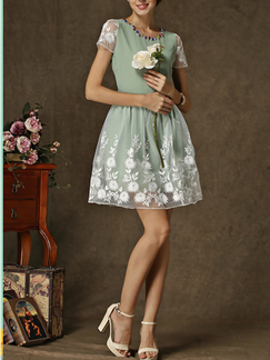 Green Lace Chiffon Short Sleeves Short Dress for Cocktail Party Casual Evening