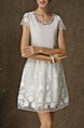 White Lace Chiffon Short Sleeves Short Dress for Cocktail Party Casual Evening