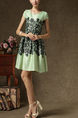 Green Floral Short Sleeves Short Dress for Cocktail Party Casual