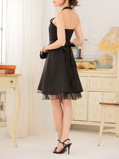 Black Lace Halter Above Knee Fit & Flare Dress for Cocktail Party Evening