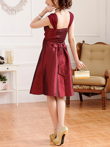 Red Wrap V Neck Plus Size Dress