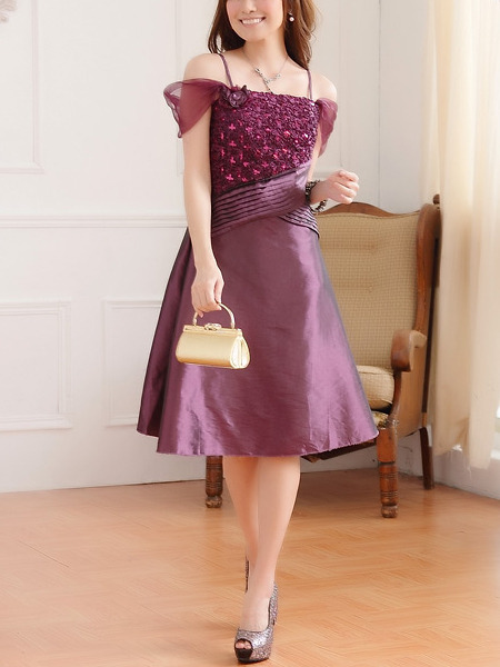 Purple Lace Off Shoulder Long Plus Size Dress